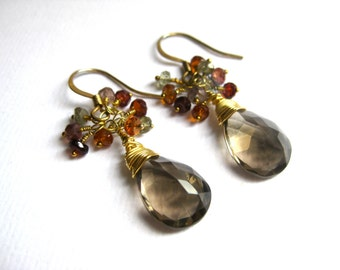 Smoky quartz and tundra sapphire earrings