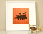 Modern Children's Paper Wall Art - Personalized Choo Choo Train 1 - 12 x 12 - Orange and Navy or Custom Color