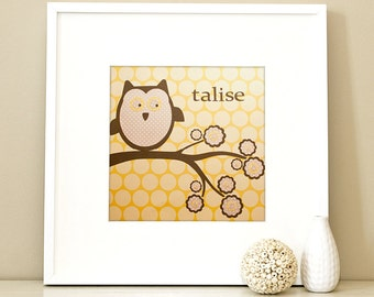 Modern Children's Paper Wall Art - Woodland Owl on a Branch or Personalized - 12 x 12 - Yellow and Grey or Custom Color