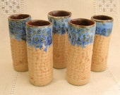 Hand built Pottery Shot Glasses in Golden Yellow and Waterfall Deep Blue, 1 1/2 ounce
