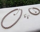 Tan Flower Girl Jewelry Light Brown Swarovski Pearls Bridal Jewelry Set