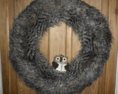 Christmas Wreath - Faux Fur Wreath - Rustic Wreath - Fur Wreath - Door Wreath - Holiday Wreath