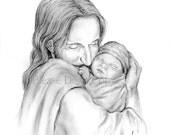 16X20 Glimpse of Heaven- Jesus Christ Holding a Newborn Baby