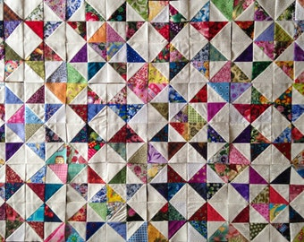 12 MIX COLOR Collection Eight Point Scrappy Stars Quilt Top Fabric Blocks 100% Cotton Made in USA