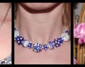 RESERVED FOR JCW Blue and White Chunky Beaded Necklace