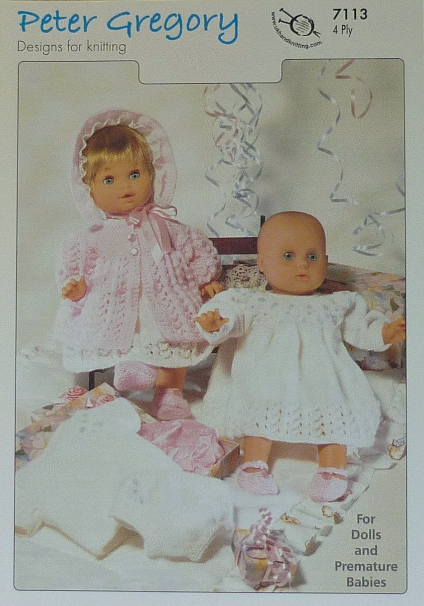 Scarves Knitting Patterns Free : PG7113 Selection of Lacy Dolls Clothes Knitting Pattern 4ply (Sport) Peter Gr...
