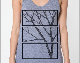 Three Piece Tree Block print Tank Top Unisex Tank Top Men's Women's American Apparel Tank