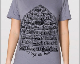 Ars Longa Vita Brevis - Art is Long Life is Short - Men's T Shirt American Apparel Tshirt Artist Shirt   XS, S, M, L, XL 9 COLORS