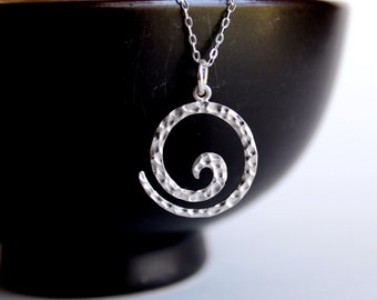Sterling Silver Jewelry Necklace -Hammered Spiral- Free U.S Shipping-  - Mother's Day - Anniversary - Graduation - Birthday