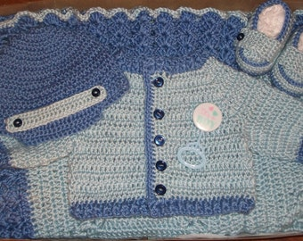Crochet Baby Boy Layette Sweater Set and Blanket Perfect for Baby Shower Gift  and Take Me Home Set