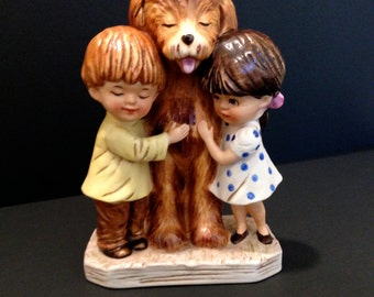 """Gorham Moppets """"Don't Try To Understand"""" 1973 -  HTF Moppets figurine - Little Boy, Little Girl and Dog"""