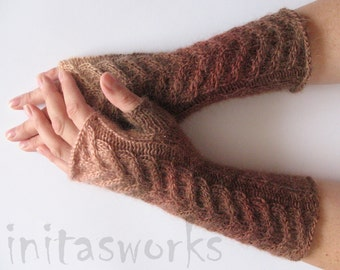 Fingerless Gloves Brown Beige Arm Warmers Knit Soft