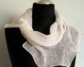 Linen Scarf White Infinity Scarf Cowl Wrap