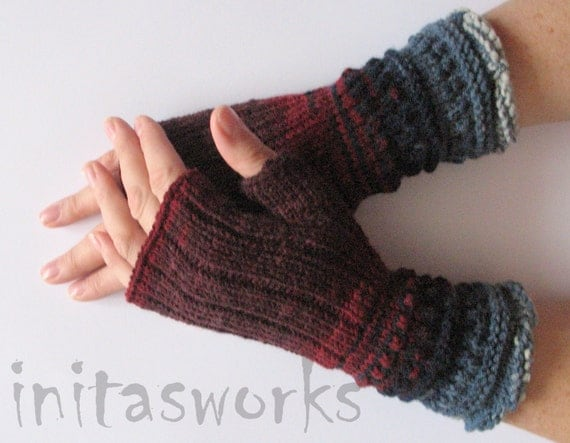 Fingerless Gloves Burgundy Red Blue Azure Gray Arm Warmers Knit Soft Acrylic Wool