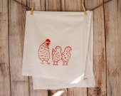 Backyard Chickens - Screen Printed Kitchen Towel - Flour Sack - Red On White