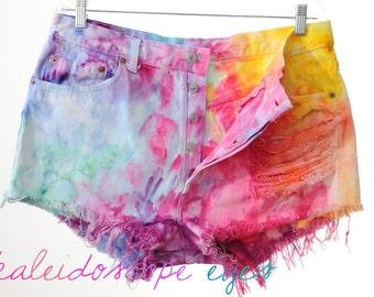 Vintage Levis 501 RAINBOW Marbled Dyed Denim Destroyed High Waist Cut Off Shorts XXL