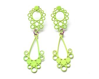 Large victorian style teardrop earrings, neon lime sorbet stainless steel post, statement drop earrings in neon green, SALE 50% OFF