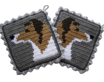 Collie Dog Pot Holders.  Gray, crochet potholders with Sheltie dogs. Shetland sheepdog decor