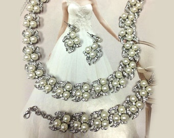 Bridal Jewelry set , wedding jewelry, bridal necklace, back drop necklace statement , bridal earrings, bridal bracelet, bridesmaid jewelry