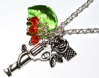 Gun Necklace, Flower Pistol, Guns and Roses, Rock Chick Jewelry, Gun with Flowers, Rose Gun Necklace, Silver Gun Charm, Ladies Gun Pendant,