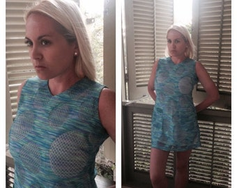 Summery Icy Blue Mod Mini Dress