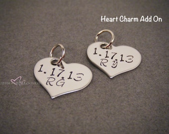 ONE DAY SALE Single Heart Charm Add On, Keychain Add On, Heart Charm, Stainless Steel, Personalized, Custom