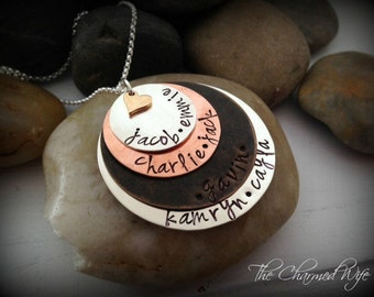 Layered Mixed Metal Jewelry - Hand Stamped Mother's necklace - Personalized Layers - Custom Family Necklace - Mixed Metal Family Jewelry