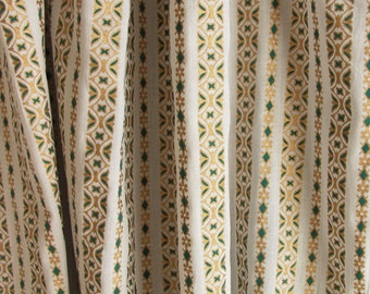 """Hand block printed curtain - White, emerald and gold Print curtains 47""""w x 92"""""""