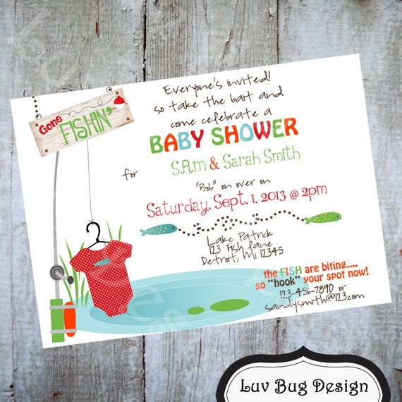fishing baby shower or sprinkle invite printable party invitation by