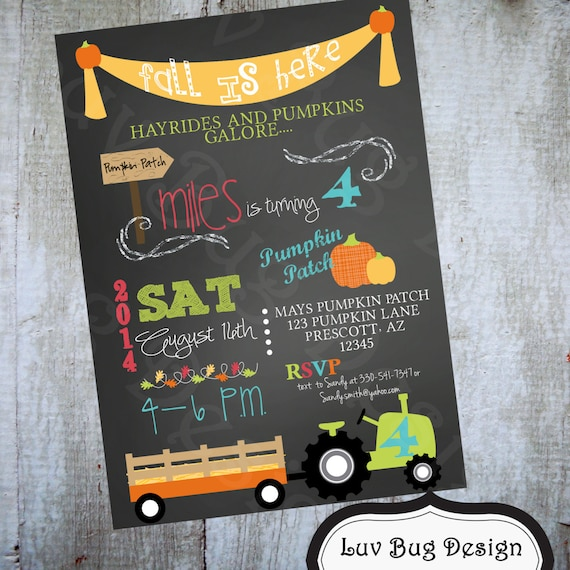 HAYRIDE Pumpkin Patch Birthday Party Printable By Luvbugdesign