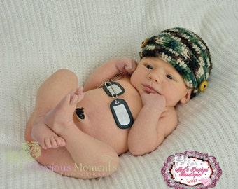 Camo hat crochet camo hat, camo crochet brimmed hat, photography prop, newborn crochet hat, military crochet hat, newborn boy hat,
