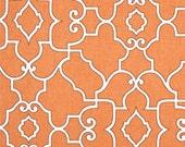 "Two  96"" x 50""  Custom Curtain Panels    - Trellis - Orange/White"