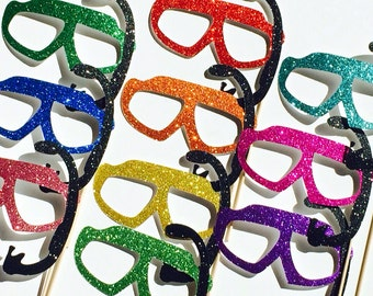Summer Photo Booth Props - Set of 10 GLITTER Swim Goggles with Snorkels - Birthdays, Weddings, Parties - Fun Photobooth Props