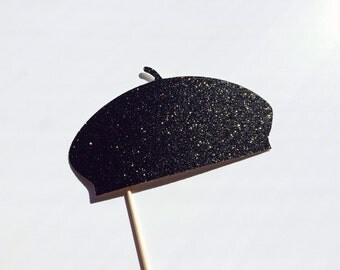 Photo Booth Props - BLACK GLITTER Beret Hat Prop - Birthdays, Weddings, Parties - Photobooth Props
