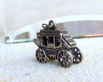 Stage Coach charm Bell Trading Post with New Mexico tag Old West Western sterling silver vintage 1960s