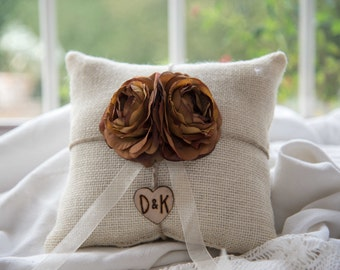 Custom Burlap ring bearer pillow with engraved wood heart with initials You Pick Flower over 60 flowers to select from