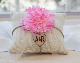 Pink Carnation flower custom ivory burlap ring bearer pillow  shabby chic with engraved heart  initials... many more colors available