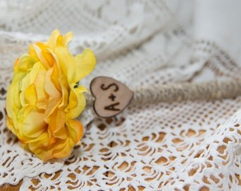 Shabby Chic Personalized Yellow Ranunculus Guest Pen with wood heart with bride and groom initials over 60 flowers to select from