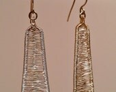 Obelisk Earrings in Woven 14K Gold Fill Also Available in 14k Rose Gold Fill Darkend Silver or Polished Silver