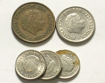 Group of 5 Coins from The Netherlands in Various Values