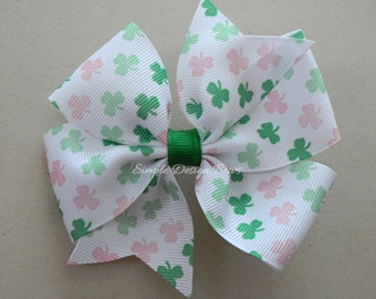 "St Patricks Day Hair Bow - Pink and Green Shamrocks - 4"" Pinwheel Bow"