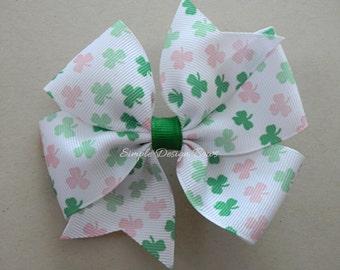 """St Patricks Day Hair Bow - Pink and Green Shamrocks - 4"""" Pinwheel Bow"""