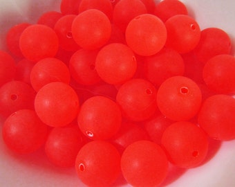 40 Vintage 10mm Matte Hot Orange Round Lucite Beads Bd1410