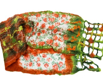 Spring sale, felted wrap, scarf, shawl, wool, lace, green, orange, gift for mom, summer trends, floral, fashion, textile wrap,nunofelted