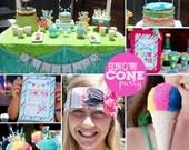 Snow Cone Party, DIY, Pool Party Invite, Summer invitation, Summer Birthday invite, Pool Party Invites