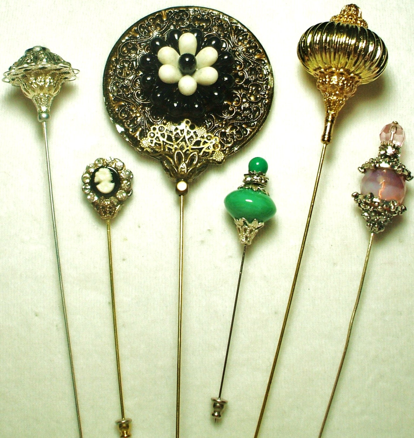 Victorian Hat Pins For The Old West Reenactor Or Steampunk: 6 Antique Style Victorian Hat Pins With Vintage And Antique