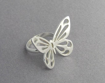 Butterfly Ring - Statement Ring - Sterling Silver - Butterfly Jewelry - Wings Ring