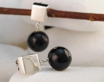 Onyx Sterling Silver Dangle Earrings