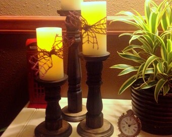 Wood Pillar Candle holders- Stained