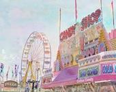 Fair Photography- Carnival Photograph, Pastel Pink Blue, Children's Decor, Nursery Decor, Whimsical Print, Ferris Wheel Photo, Pastel Decor